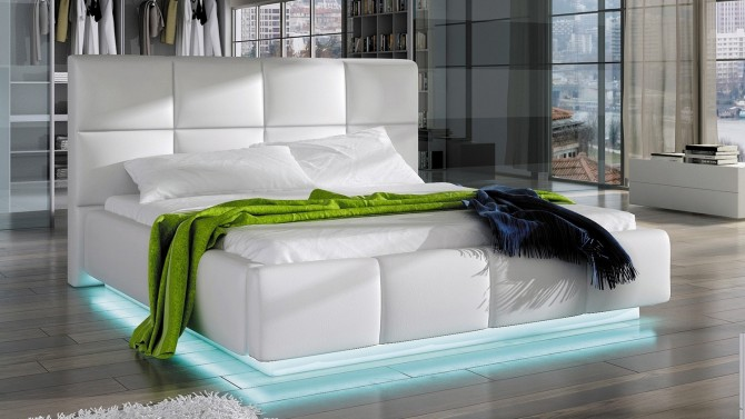 lit simili cuir blanc 160x200 cm avec led winston - Lit 160x200 Avec Led