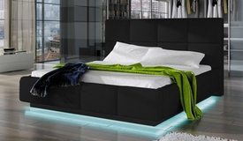 Lit lumineux simili cuir noir 160x200 cm - Winston
