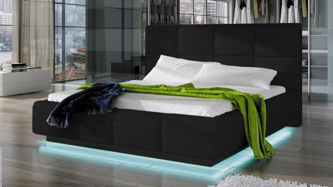 lit design 160x200 cm en simili cuir noir avec led winston. Black Bedroom Furniture Sets. Home Design Ideas