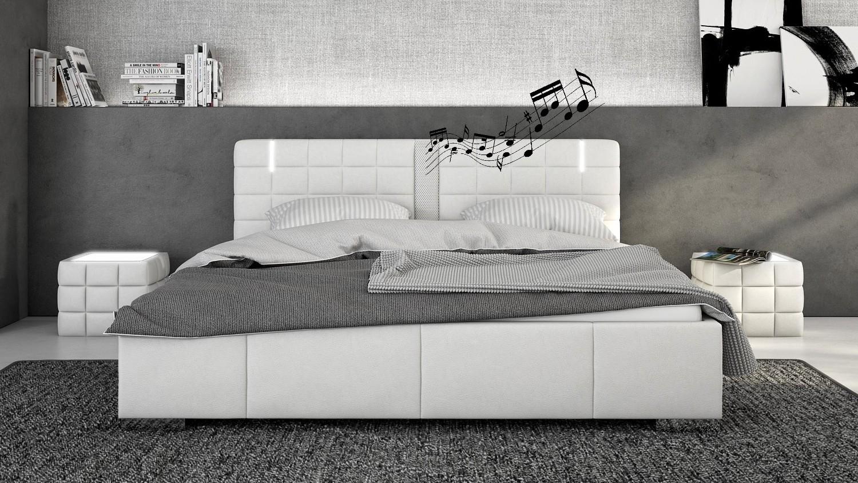 Lit Exterieur Design lit design blanc en simili avec leds et haut-parleurs wouter