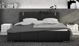 Lit noir 160x200 cm LED et haut-parleurs - Wouter