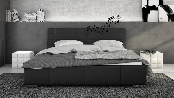 Lit noir 160x200 cm avec LED et haut-parleurs - Wouter