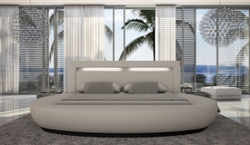 lit incurv en simili blanc et noir 160x200 cm avec leds eden gdegdesign. Black Bedroom Furniture Sets. Home Design Ideas