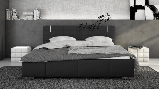 lit cuir noir 200x200 cm avec haut parleurs et led wouter. Black Bedroom Furniture Sets. Home Design Ideas