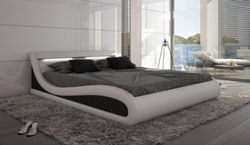 Lit cuir simili lumineux 200x200 cm blanc et noir - Aspen