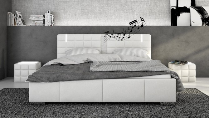 lit haut parleurs avec led simili blanc 200x200 cm wouter gdegdesign. Black Bedroom Furniture Sets. Home Design Ideas