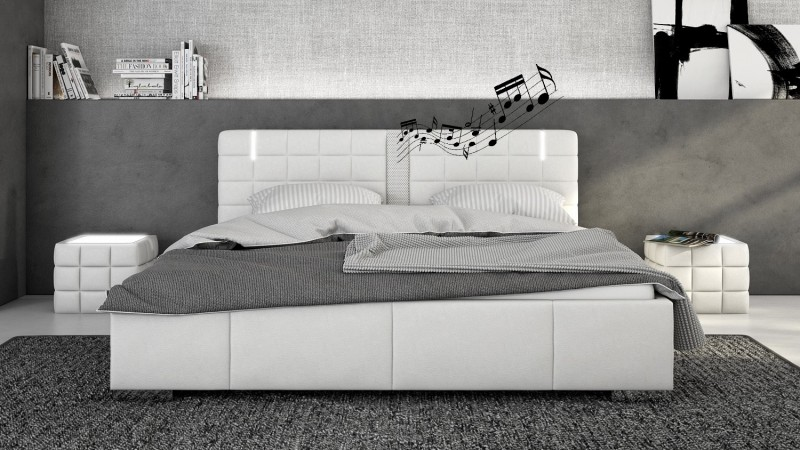 lit haut parleurs avec led simili blanc 200x200 cm wouter. Black Bedroom Furniture Sets. Home Design Ideas