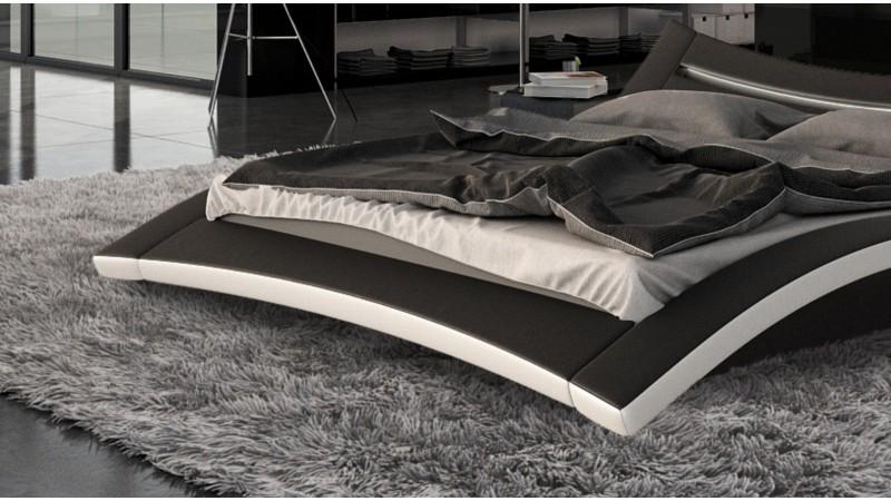lit design noir et blanc avec clairage 200x200 cm eden gdegdesign. Black Bedroom Furniture Sets. Home Design Ideas