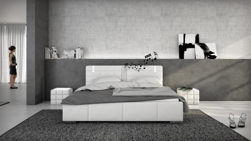 lit design blanc avec led et haut parleurs 180x200 wouter gdegdesign. Black Bedroom Furniture Sets. Home Design Ideas