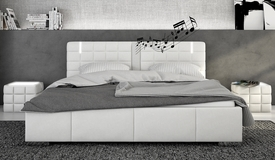 Lit blanc LED et haut-parleurs 180x200 - Wouter