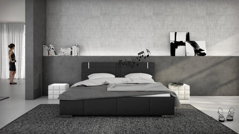 lit led haut parleurs 140x190 cm simili cuir noir wouter gdegdesign. Black Bedroom Furniture Sets. Home Design Ideas
