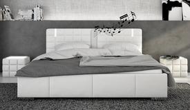 Lit design blanc 140x190 cm LED et haut-parleurs - Wouter