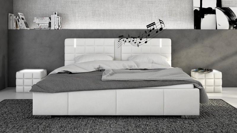 Lit Blanc Cuir X Cm LED Et Hautparleurs Wouter GdeGdesign - Lit design led 140x190