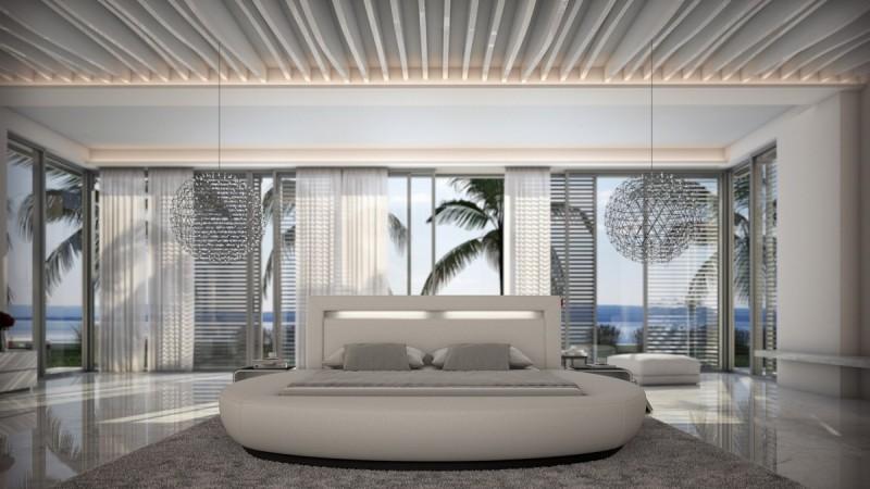 lit design rond cuir blanc lumineux 140x190 cm kovel gdegdesign. Black Bedroom Furniture Sets. Home Design Ideas