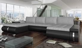 Canapé d'angle convertible simili et tissu - Klaus