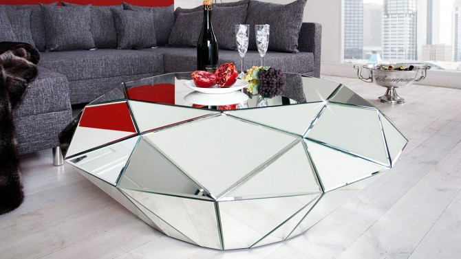 Table de salon design miroir diamant facettes tove gdegdesign - Table salon moderne ...