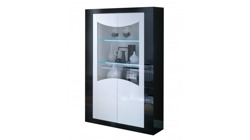 vitrine lumineuse avec clairage led 2 portes nevis gdegdesign. Black Bedroom Furniture Sets. Home Design Ideas