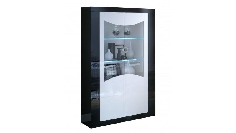 vitrine lumineuse avec clairage led 2 portes nevis gdegdesign. Black Bedroom Furniture Sets. Home Design Ideas