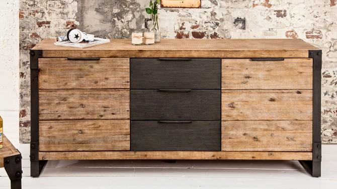 Buffet bois industriel 2 portes + 3 tiroirs - Jorg