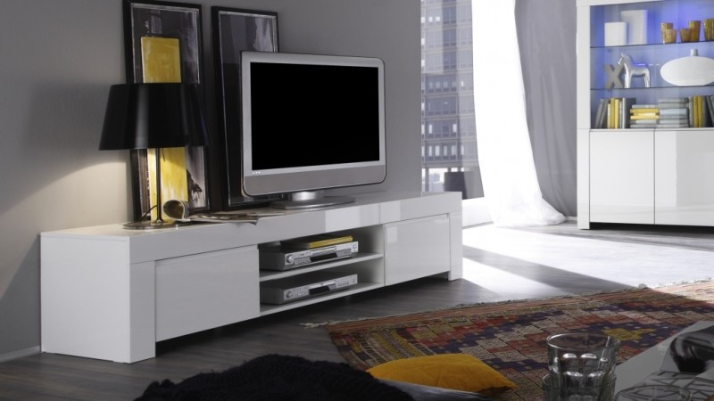 meuble tv laqu blanc 190 cm avec portes et tag re naomi. Black Bedroom Furniture Sets. Home Design Ideas
