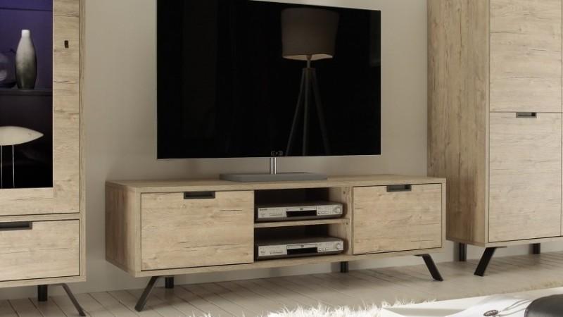 Meuble tv design bois clair 2 portes et 1 tag re vram for Meuble tv 2 portes