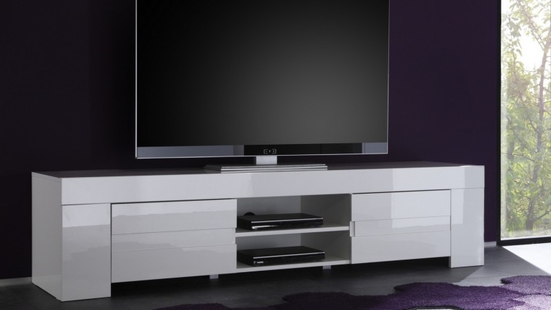 banc tv design 2 portes avec tag re laqu blanc konrad. Black Bedroom Furniture Sets. Home Design Ideas