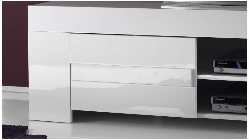 Meuble tv design laqu blanc brillant konrad 140 cm gdegdesign - Meuble tv blanc laque 120 cm ...
