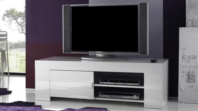 Meuble TV laqué blanc 140 cm - Konrad