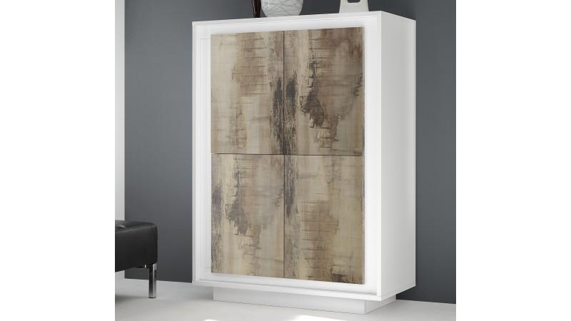 Buffet haut design blanc mat 4 portes bois clair Brann - GdeGdesign