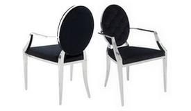 Chaise velours noir médaillon avec accoudoirs - Zita