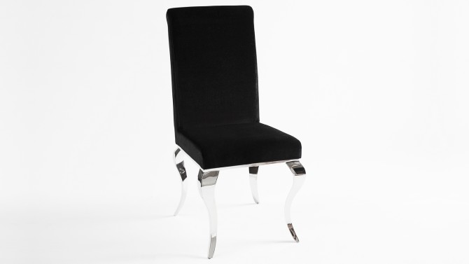 Chaise baroque design en velours noir - Zita