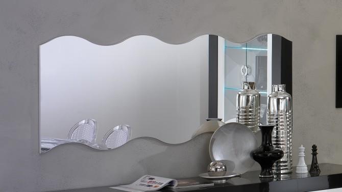 Salle manger design lumineuse noire et blanche nevis for Grand miroir moderne