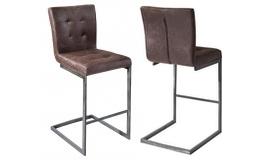 Chaise de bar cuir vieilli marron - Frauke