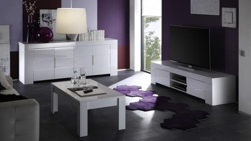 buffet design 4 portes laqu blanc konrad avec tag res gdegdesign. Black Bedroom Furniture Sets. Home Design Ideas