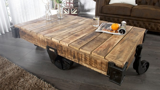 table basse industrielle en bois harry - Table Salon Industrielle
