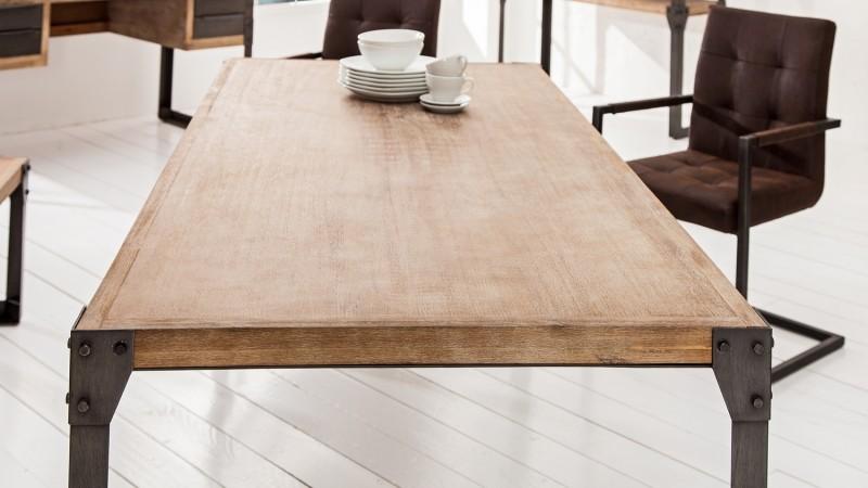 table de salle manger industrielle bois et m tal jorg. Black Bedroom Furniture Sets. Home Design Ideas