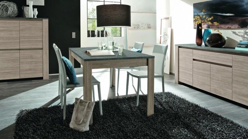 Table à manger bois rectangulaire, plateau ardoise Aspar - GdeGdesign