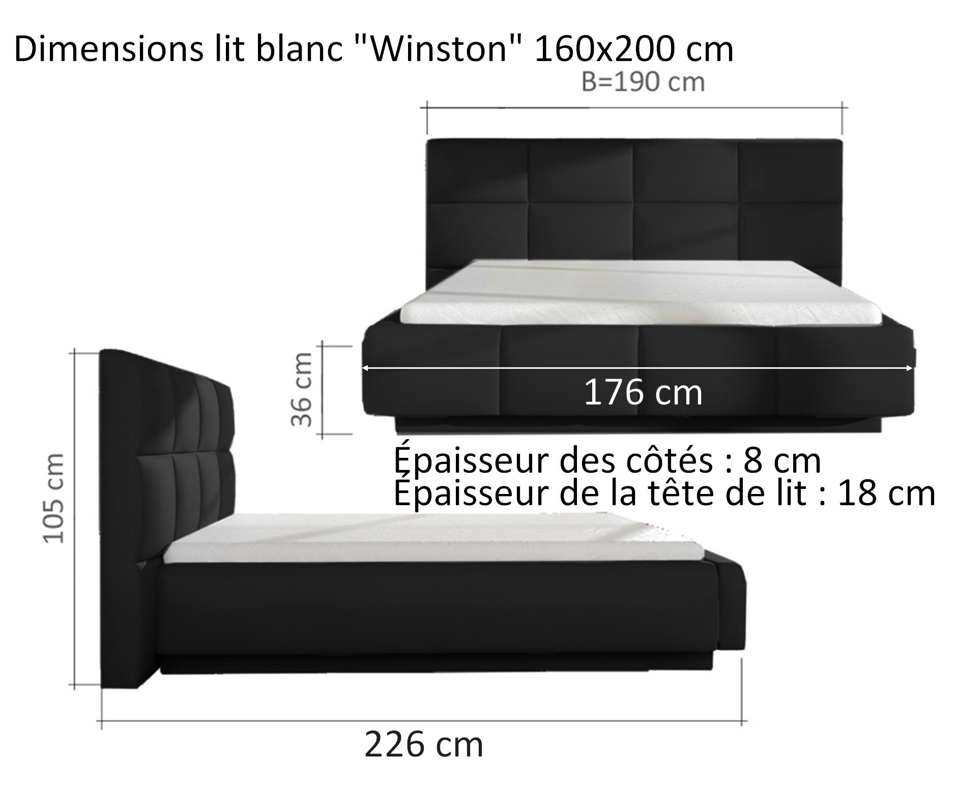 Lit Design Blanc 160×200 Cm Avec Clairage Led Winston Gdegdesign # Canape Haut Parleur Integre